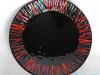 grote ronde glazen schaal zwart/rood € 150,-