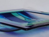 glazen schaal, in div. blauwtinten